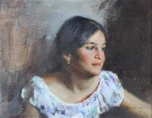 Cyrus Afsary American Female Portrait Oil Painting