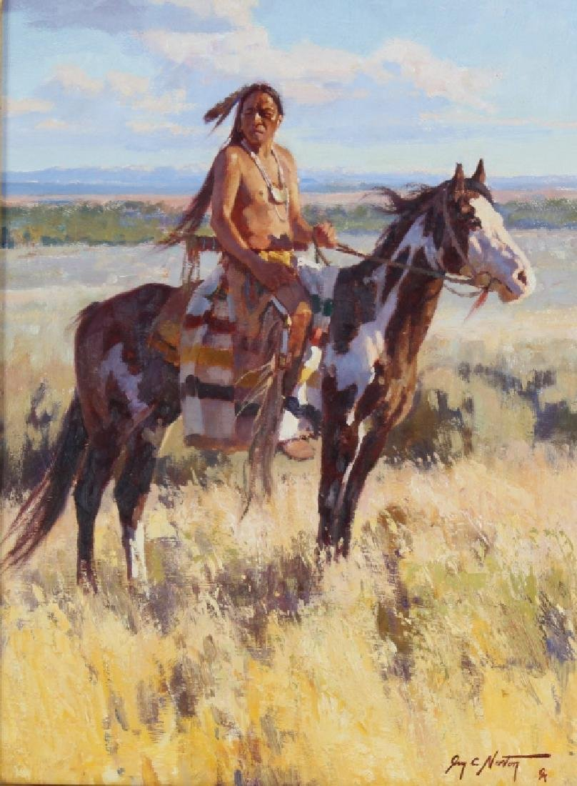 Jim Norton American Indian Horseback Oil Painting Sep 26 2018 Hill Auction Gallery In Fl