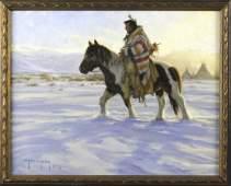 Robert Duncan American Indian Winter Oil Painting