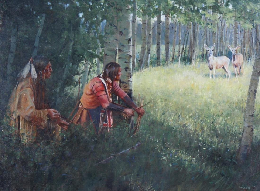 John Fawcett American Indian Deer Hunters Painting - 2