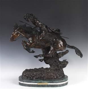 Remington Art Bronze Cheyenne Indian 21 Sculpture