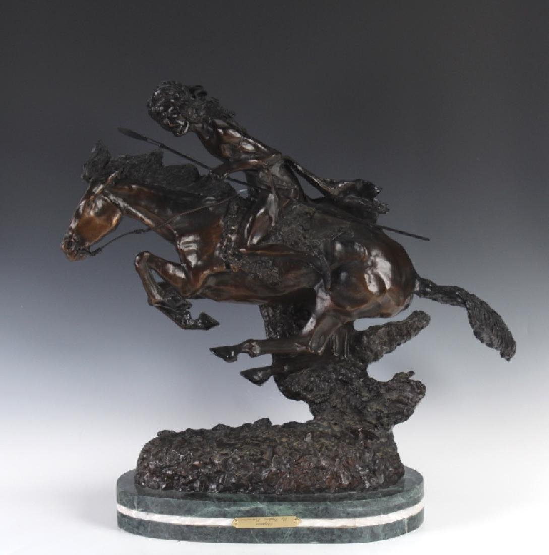 "Remington Art Bronze Cheyenne Indian 21"" Sculpture"