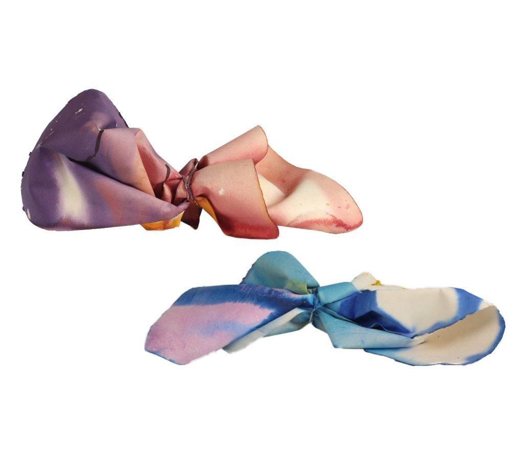 Tom Graboski American, 2 Dyed Paper Art Sculpture