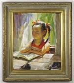 Zhiwe Tu b1951 Chinese Child Portrait Oil Painting