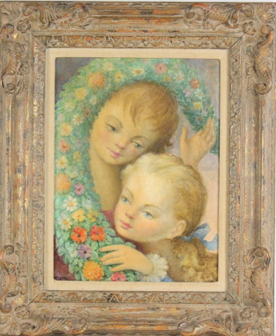 Signed American Children Portrait Painting MYSTERY