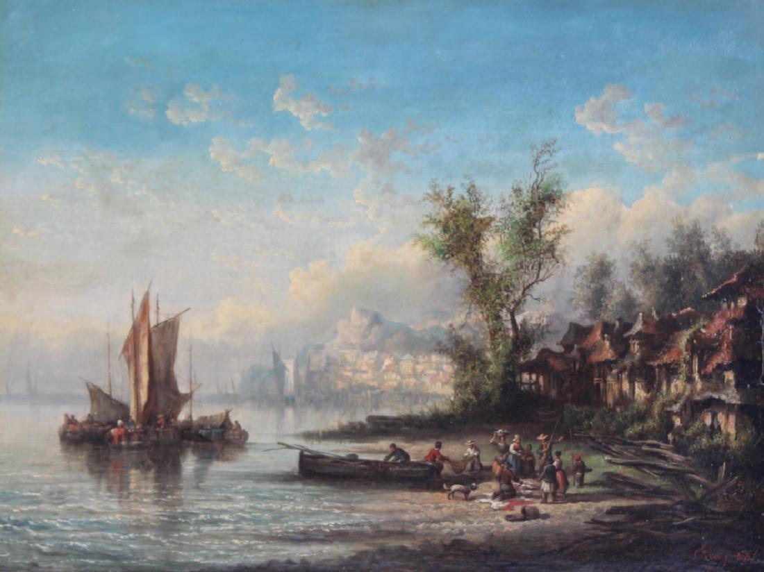 Prosper Ferey French Antique Landscape Painting
