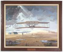 Robert McCall American Early Airplane Oil Painting
