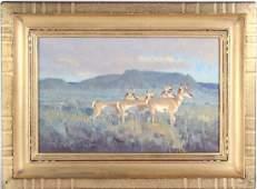 Jim Morgan American Landscape w Deer Oil Painting