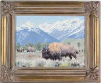 Kyle Sims American Buffalo Landscape Oil Painting