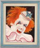 American Creepy Scary Clown Portrait Oil Painting