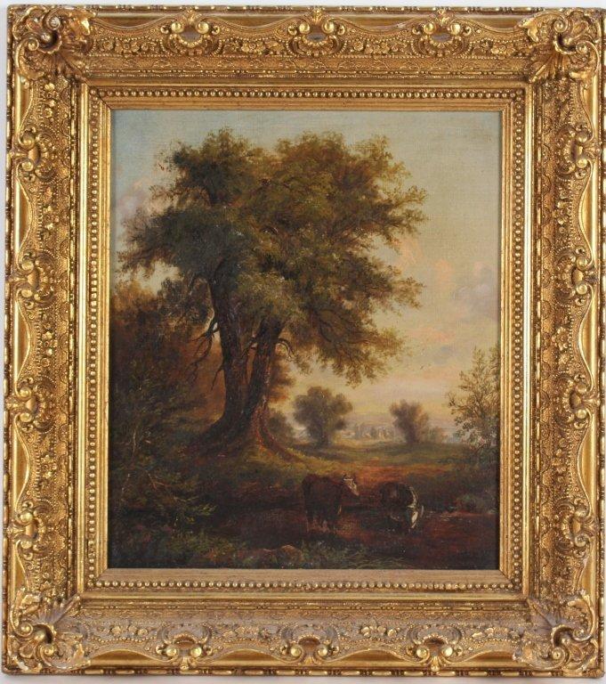 Antique 19th Century Pastoral Art Landscape Painting