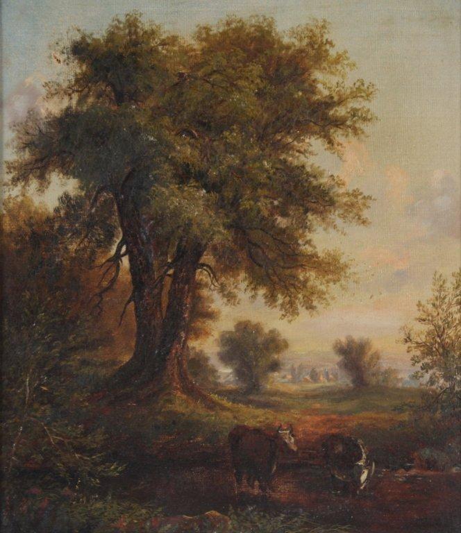 Antique 19th Century Pastoral Art Landscape Painting - 2