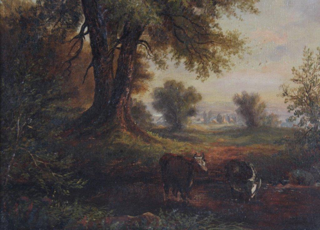Antique 19th Century Pastoral Art Landscape Painting - 4
