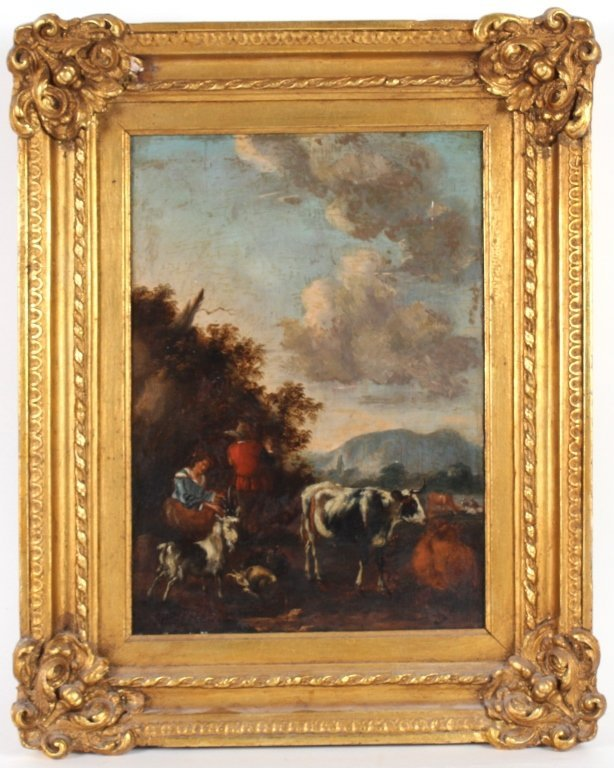 Barbizon School Pastoral Landscape Art Oil Painting