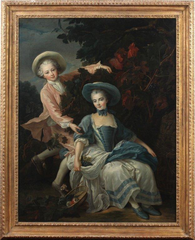 English School Portrait Painting François-Hubert Drouai
