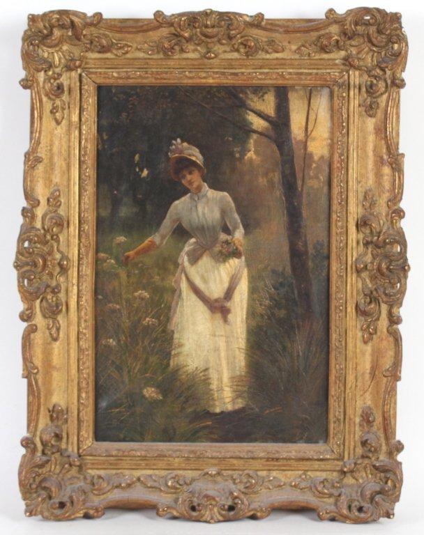 Antique 19th Century Portrait Landscape Art Painting