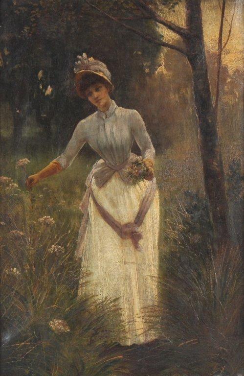 Antique 19th Century Portrait Landscape Art Painting - 2
