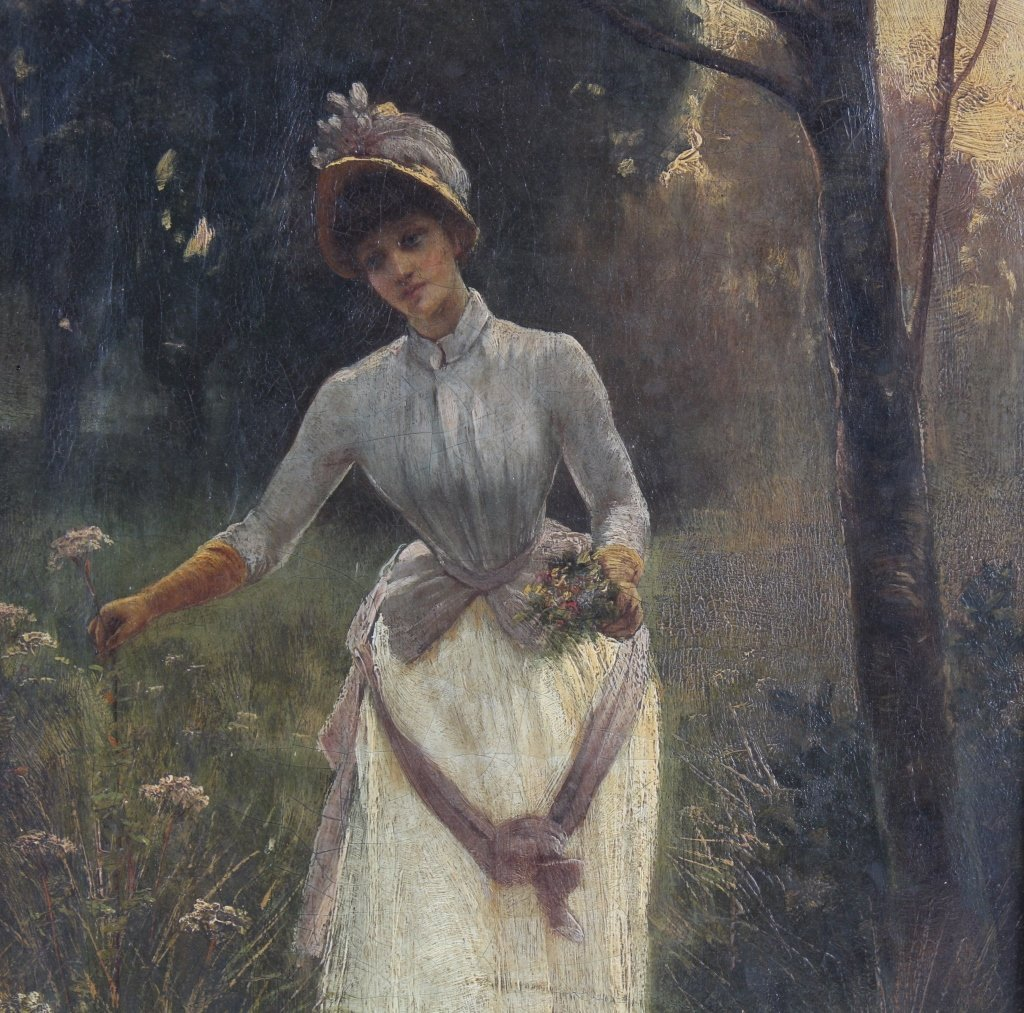 Antique 19th Century Portrait Landscape Art Painting - 3
