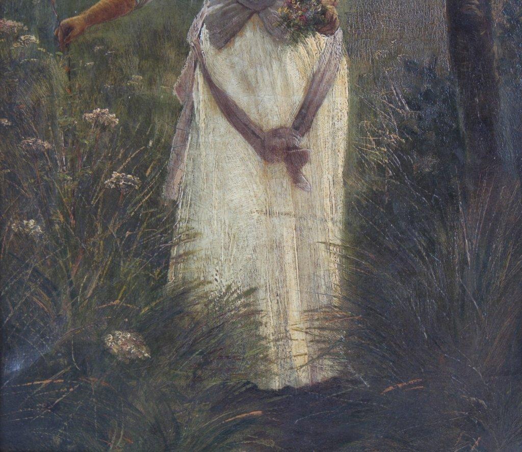 Antique 19th Century Portrait Landscape Art Painting - 4