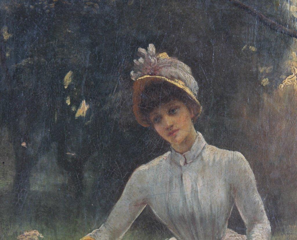 Antique 19th Century Portrait Landscape Art Painting - 5