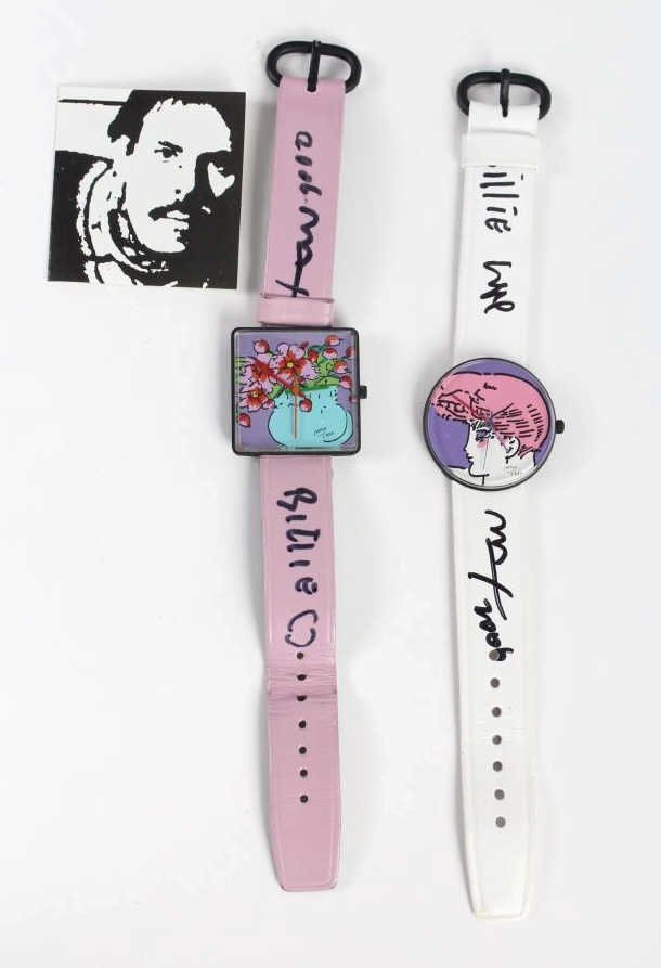 2 Peter Max American Signed Portrait Wrist Watches