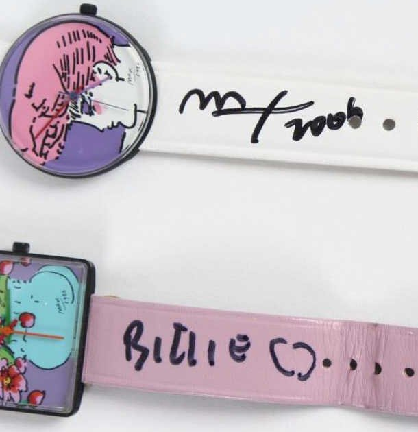 2 Peter Max American Signed Portrait Wrist Watches - 3