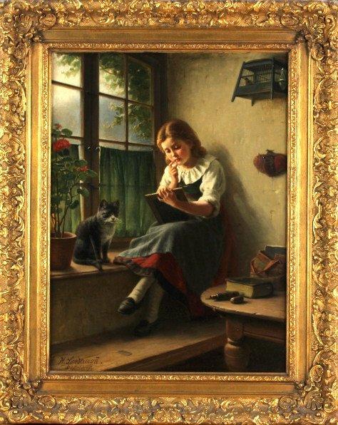 Hermann Sondermann (1832-1901) German Art Oil Painting