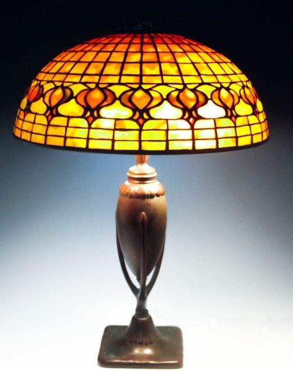 Tiffany Studios Leaded Glass Geometric Table Lamp