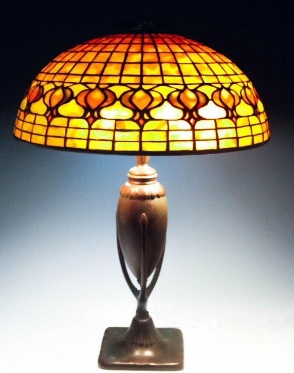 Tiffany Studios Leaded Glass Geometric Table Lamp