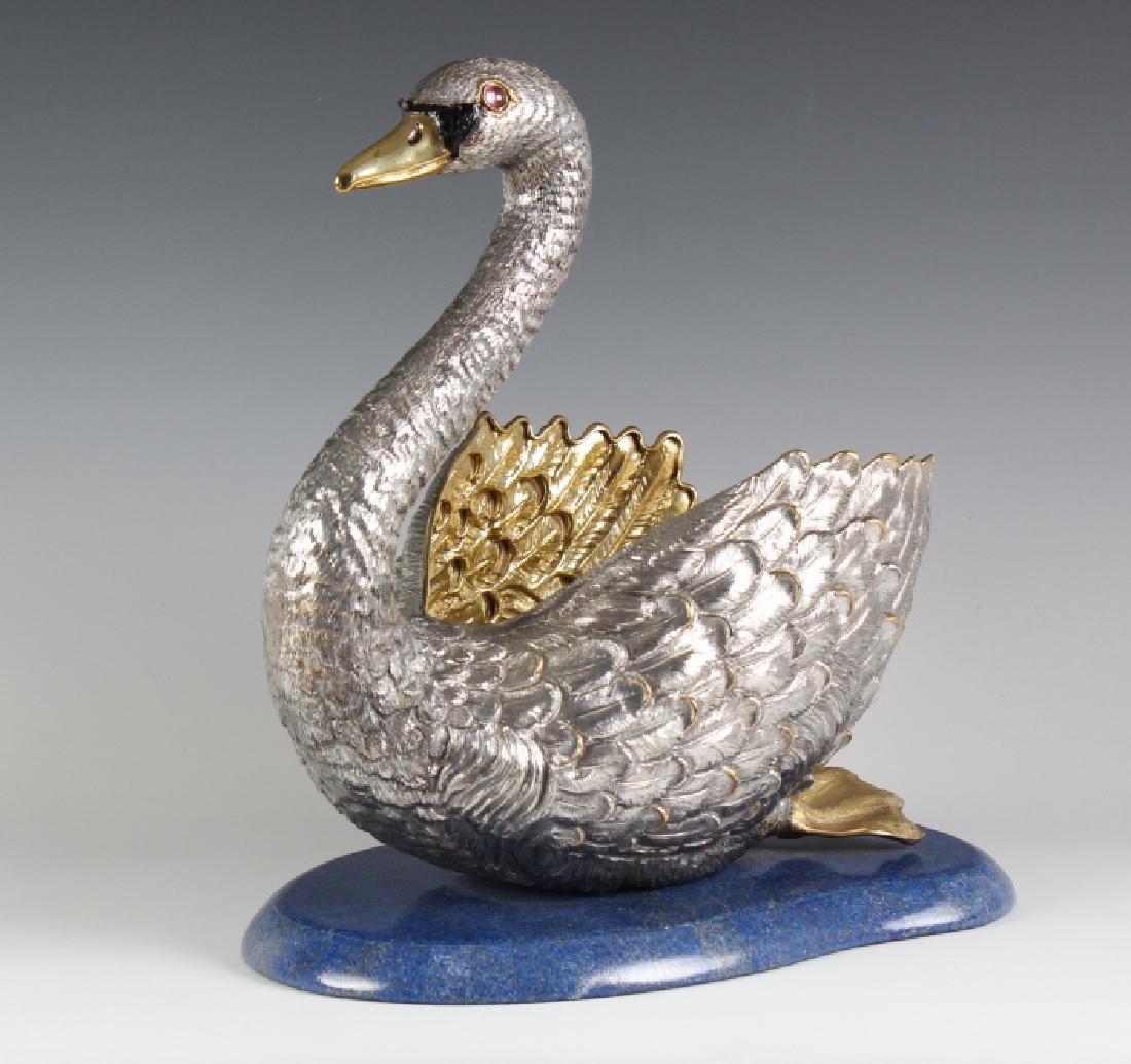 Monumental Buccellati Sterling Silver Swan Centerpiece