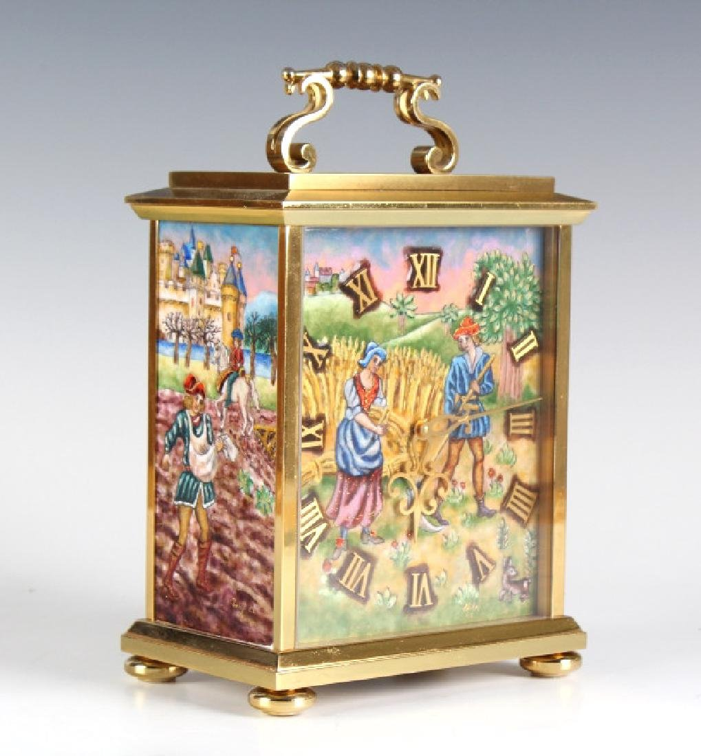 FINE Enameled IMHOF Swiss Gilt Brass Mantle Clock