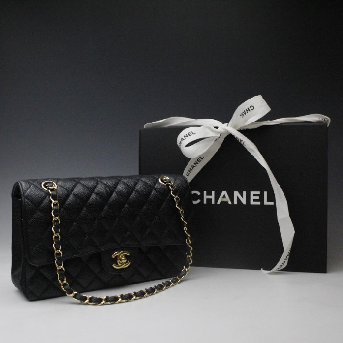 CHANEL Classic Double Flap Black Handbag Purse