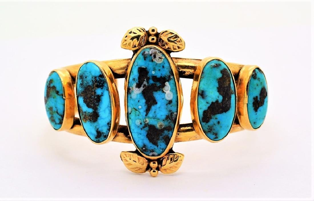 LARRY PINTO Navajo 14K GOLD Turquoise Bracelet 44g