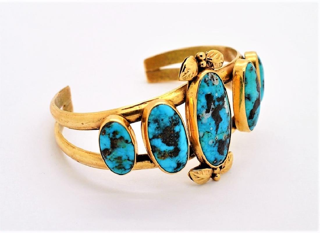 LARRY PINTO Navajo 14K GOLD Turquoise Bracelet 44g - 2