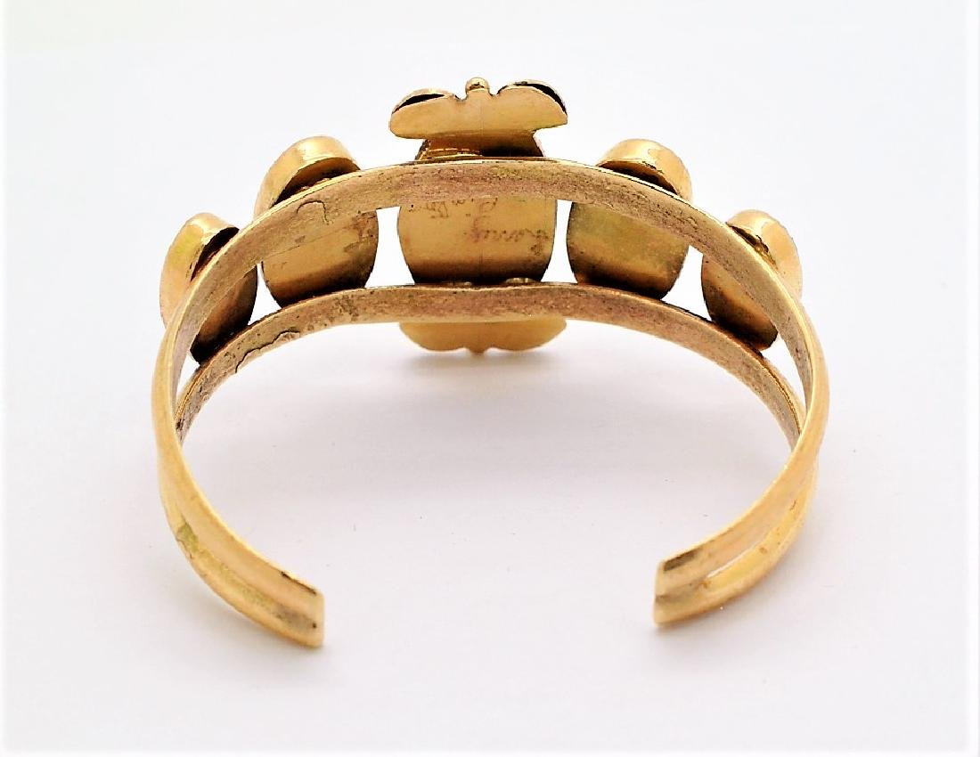 LARRY PINTO Navajo 14K GOLD Turquoise Bracelet 44g - 3