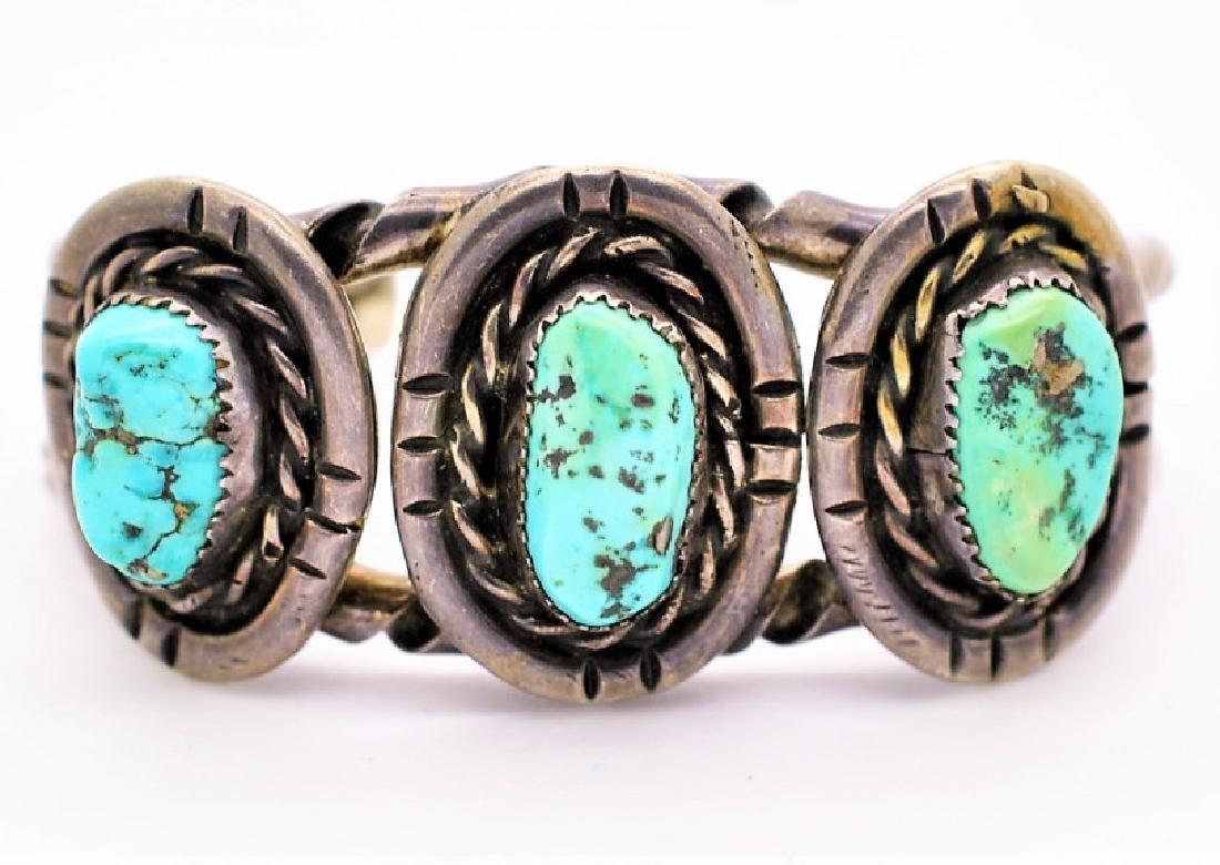 Gilbert Ortega Navajo Silver Turquoise Bracelet