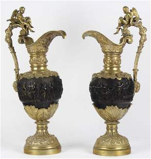 19th Century Renaissance Revival Gilt Bronze Ewers