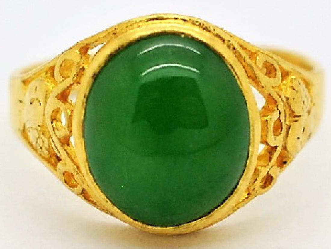Chinese 24K Gold Apple Green Jade Gemstone Ring