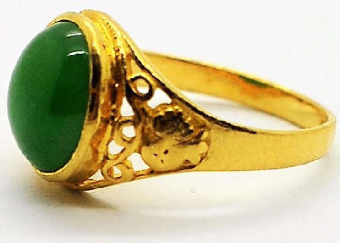 Chinese 24K Gold Apple Green Jade Gemstone Ring - 3