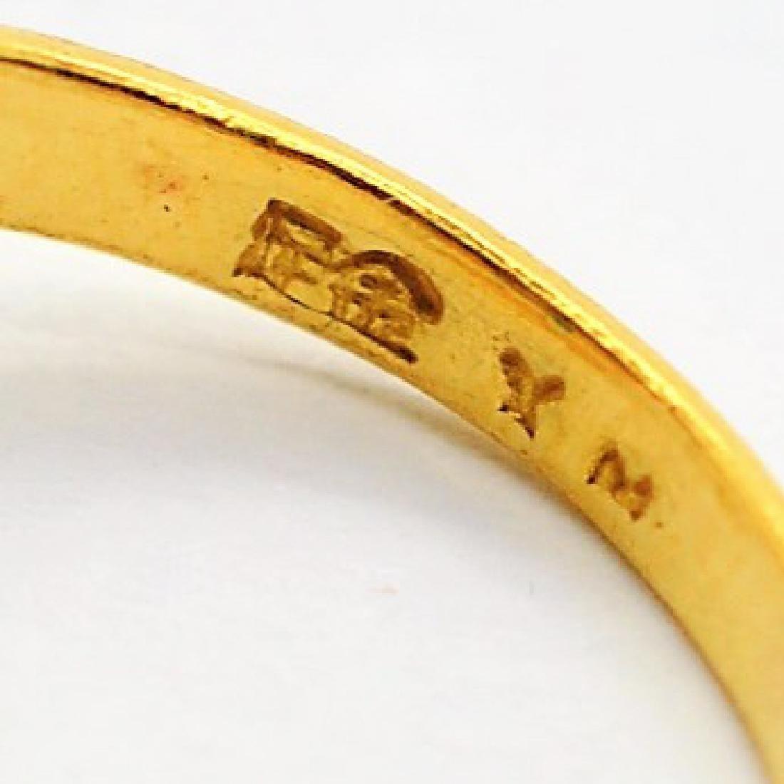 Chinese 24K Gold Apple Green Jade Gemstone Ring - 4