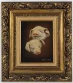 Sadako Mano Pink Pigs Animal Portrait Oil Painting