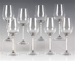 8 Swarovski Crystalline Crystal Wine Goblet SET