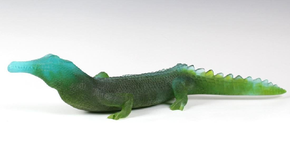 Daum Pate De Verre French Art Glass Alligator 20""