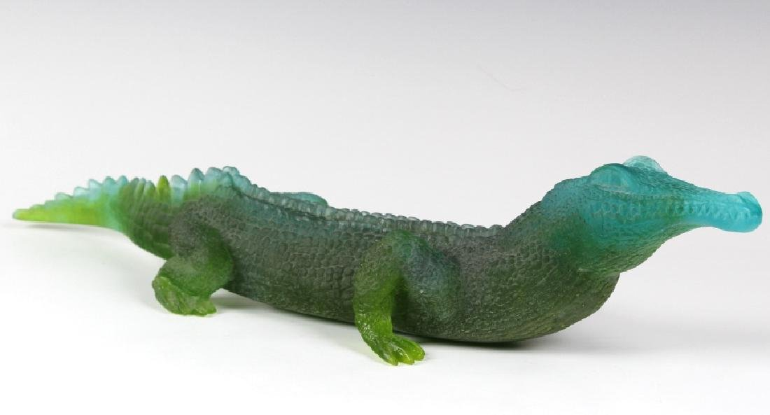 "Daum Pate De Verre French Art Glass Alligator 20"" - 4"