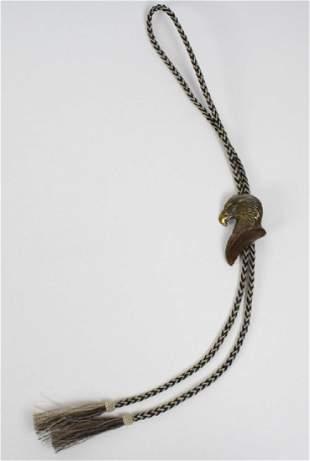 Kent Ullberg Bronze Eagle Horsehair Bolo Tie