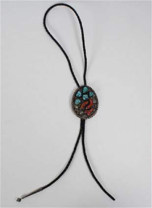 LH Navajo Red Coral Turquoise Silver Bolo Tie