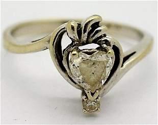 14k Ladies 12 CT Heart Diamond Engagement Ring