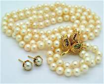 14k Akoya Pearl Gemstone Necklace  Earrings VTG