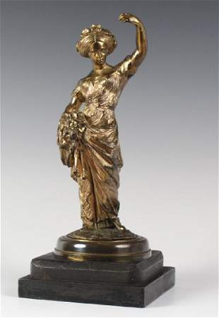 Signed Bailly Gilt Bronze Sculpture Of A Woman