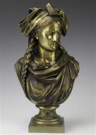 Fine Antique Swiss Bronze Bust of a Lady Sculpture